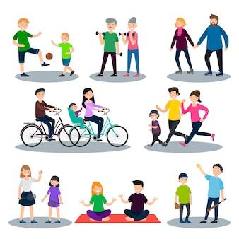 Conjunto de esportes e família saudável