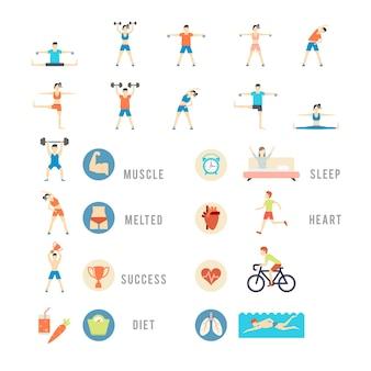 Conjunto de esportes e saúde pessoas