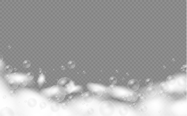 Conjunto de espuma de banho com bolhas de shampoo. bolhas de sabão, gel ou shampoo cobrem a textura da espuma.