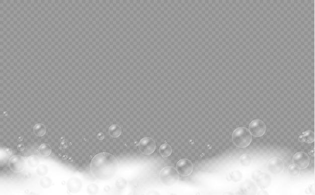 Conjunto de espuma de banho com bolhas de shampoo, sabonete, gel ou bolhas de shampoo sobreposição de textura de espuma