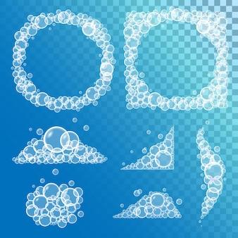 Conjunto de espuma de sabonete de banho com bolhas e bordas em fundo transparente. ilustração vetorial