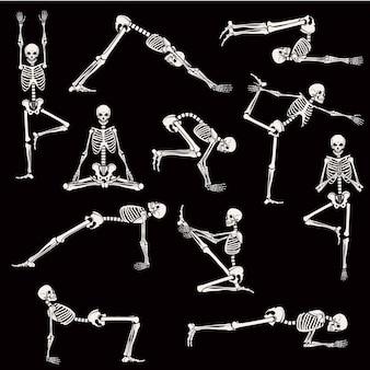 Conjunto de esqueleto posa ioga
