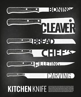 Conjunto de esquemas de facas de cozinha monocromáticas