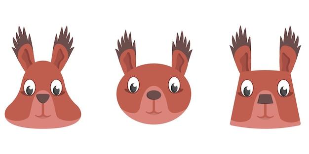 Conjunto de esquilos de desenho animado. diferentes formas de rostos de animais.