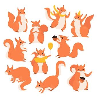 Conjunto de esquilos, desenhos animados fofos e engraçados esquilos peludos