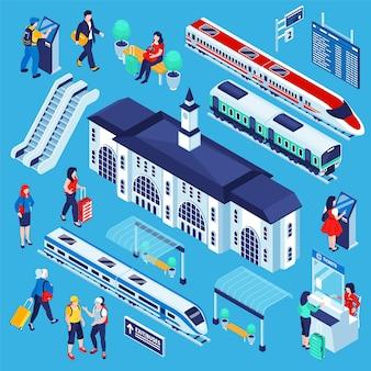Conjunto de estação de trem isométrica de ilustração de complexo de ferrovia isolada