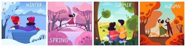 Conjunto de estações. inverno, primavera, verão e outono