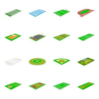 Conjunto de estádio e jogo ícone.