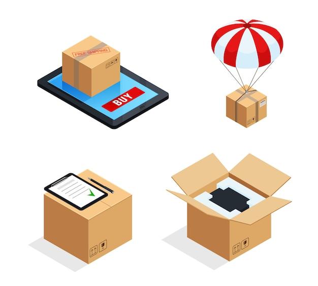 Conjunto de estágios de entrega de encomendas