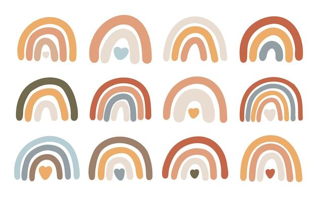 Conjunto de estampas arco-íris boho
