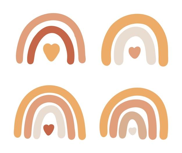 Conjunto de estampas de boho arco-íris, arco-íris abstrato