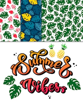 Conjunto de estampas de verão e padrões
