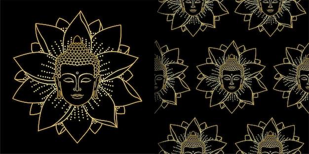Conjunto de estampas e padrões sem emenda de buda e lotus dourado para estampas de têxteis e camisetas e papéis de parede