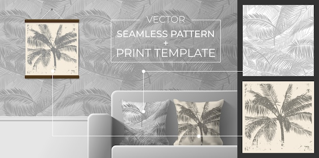 Conjunto de estampas e padrões sem emenda para decoração de interiores. padrão sem emenda de folhas de palmeira para impressão em travesseiros, papel de parede, têxteis. silhueta de palmeiras para impressão de pôsteres