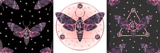 Conjunto de estampas místicas e padrões sem emenda dead head mariposa estampas têxteis de joias de borboletas noturnas