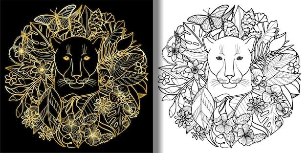 Conjunto de estampas panther e plants tropical