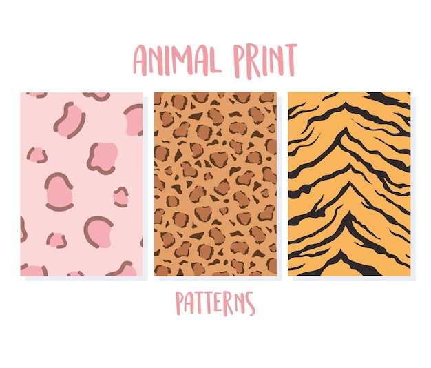 Conjunto de estampas sem costura de animais, ilustração vetorial de padrões de tigre e leopardo