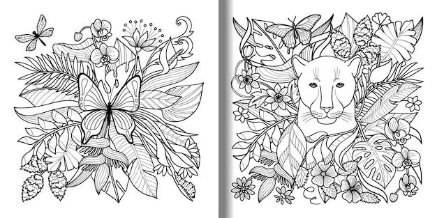 Conjunto de estampas tropicais de borboletas e panteras