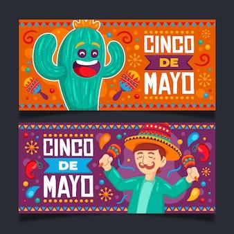 Conjunto de estandartes cinco de mayo desenhados à mão