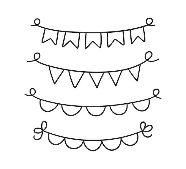 Conjunto de estandartes de férias de mão desenhada. doodle, grinalda de aniversário de bandeiras. crianças doodle desenho. ilustração vetorial isolada em fundo branco