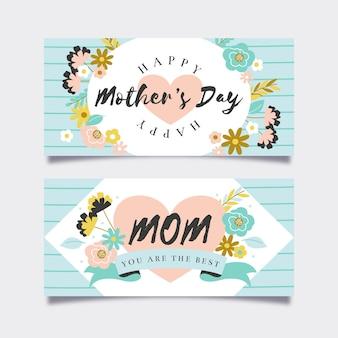 Conjunto de estandartes desenhados à mão para o dia das mães