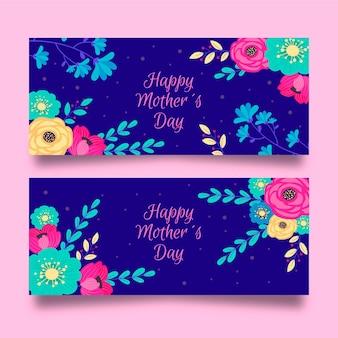 Conjunto de estandartes florais para o dia das mães