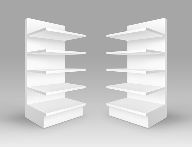 Conjunto de estantes de loja brancas em branco vazias para estandes de exposição com prateleiras isoladas no fundo