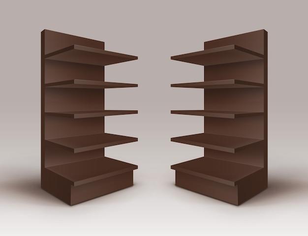 Conjunto de estantes de lojas de estandes de exposição em branco vazio marrom com prateleiras isoladas no fundo