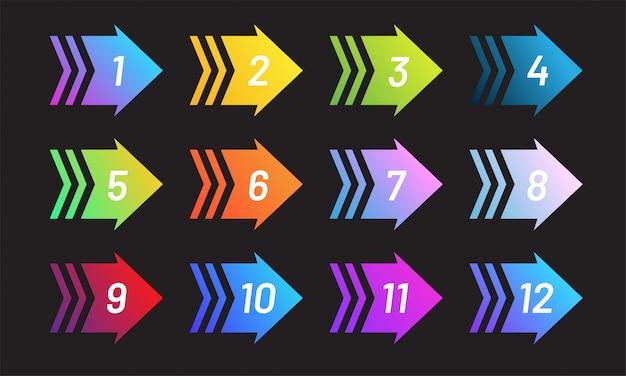Conjunto de estilizar o ponto de bala de seta com o número.