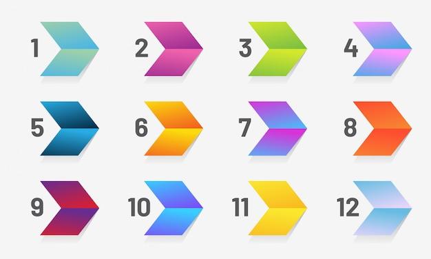 Conjunto de estilizar seta ponto de bala com números