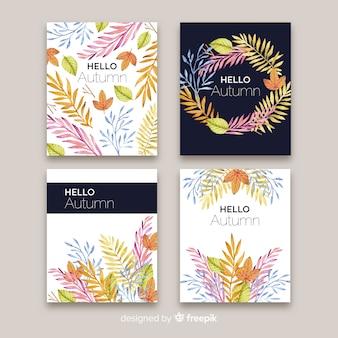 Conjunto de estilo aquarela de cartões de outono