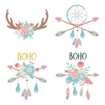 Conjunto de estilo boho de decorações