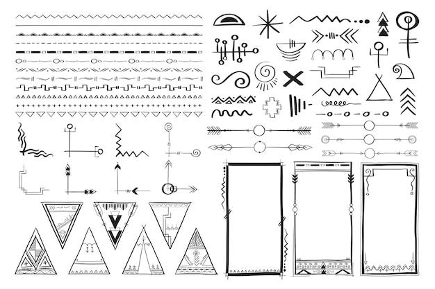 Conjunto de estilo boho ornamental desenhado à mão em vetor doodle