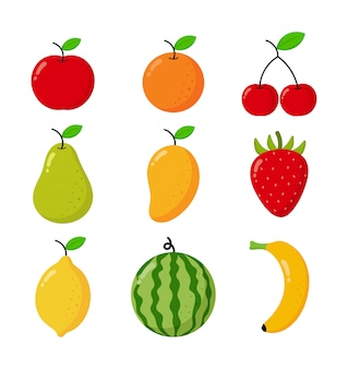 Conjunto de estilo cartoon de frutas tropicais. isolado no branco