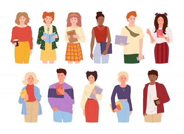 Conjunto de estilo cartoon multirraciais jovens estudantes. grupo homem womans com gadgets