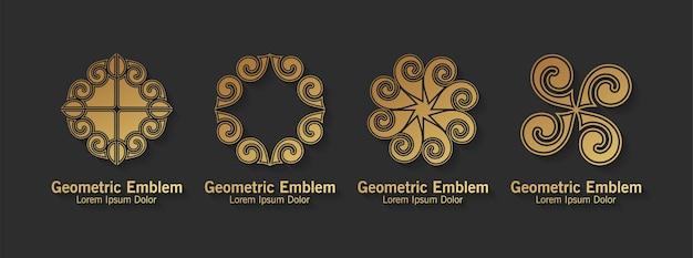 Conjunto de estilo de arte de linha de logotipo de ornamento luxo
