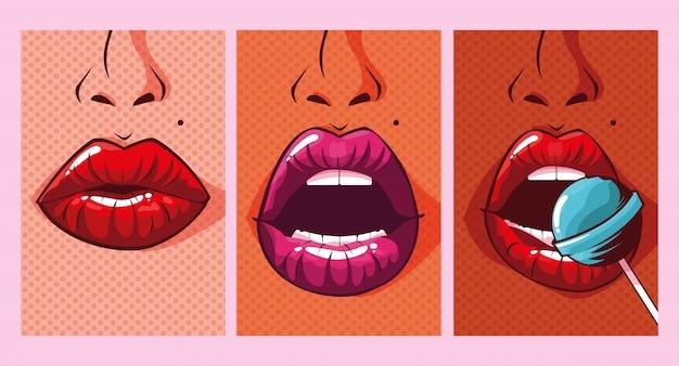 Conjunto de estilo de arte pop de bocas de mulher sexy