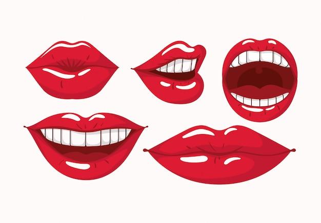 Conjunto de estilo de arte pop de lábios femininos