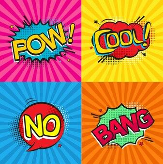 Conjunto de estilo de arte pop de texto em quadrinhos ou balões de fala em quadrinhos com diferentes emoções