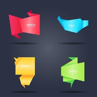 Conjunto de estilo de bandeiras de papel origami colorido abstrato