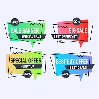 Conjunto de estilo de banners de vetor plano geométricas memphis. desconto de etiqueta de preço de oferta, promoção de marketing promocional