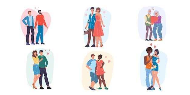 Conjunto de estilo de desenho animado de amantes desfrutando de bons momentos juntos