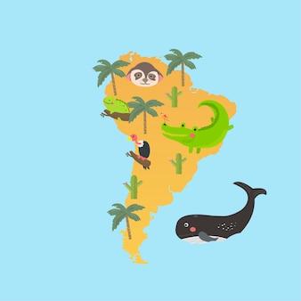 Conjunto de estilo de desenho de ilustração de habitats de vida selvagem