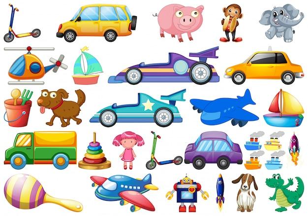 Conjunto de estilo de desenhos animados de brinquedos de crianças