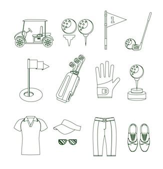 Conjunto de estilo de design de linha fina de equipamentos de golfe para dispositivos móveis e aplicativos da web. ilustração vetorial