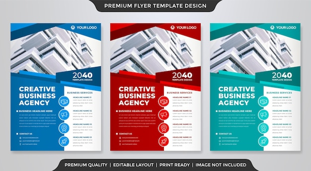 Conjunto de estilo de design de modelo de folheto de negócios