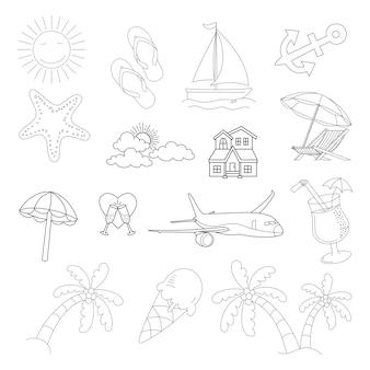 Conjunto de estilo de doodle de ícone de vetor de verão