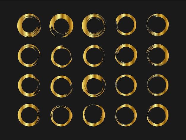 Conjunto de estilo de escova desenhada à mão do círculo dourado. quadro aquarela