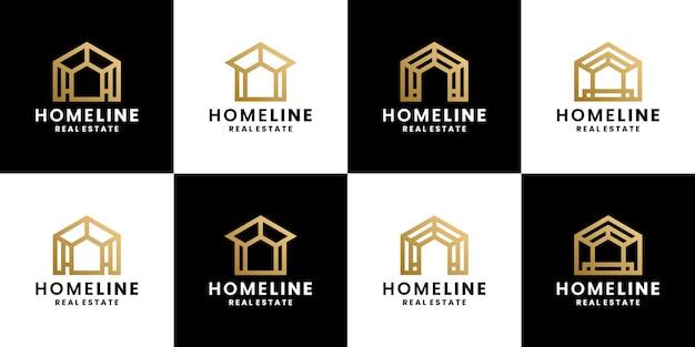 Conjunto de estilo de linha de design de logotipo de casa, casa, imobiliária
