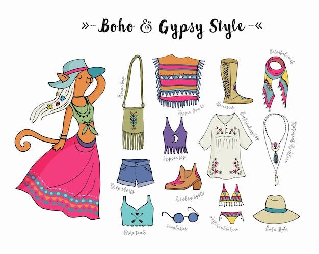 Conjunto de estilo de moda boêmio, boho e hippie, ilustração de roupas ciganas